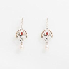 Boucles d'oreilles Shakudo Corail