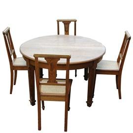 Table Art Déco Française avec 6 chaises