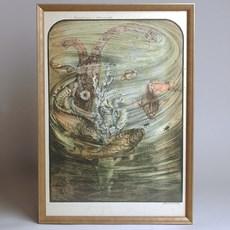 Lithographie en couleurs Jan Schonk - Carpe miroir et coléoptères aquatiques