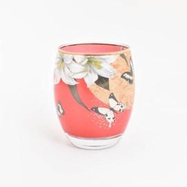 Tea-Light Lys et Papillons Rouge