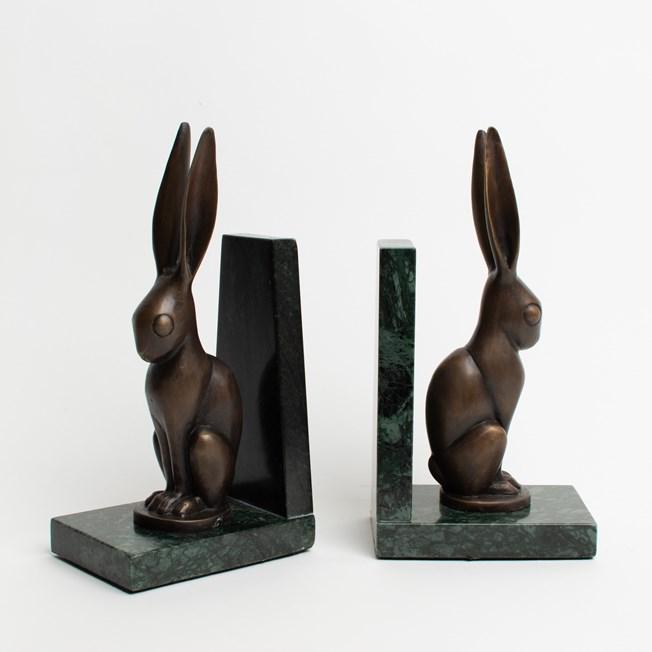 Serre-livres lièvre en bronze