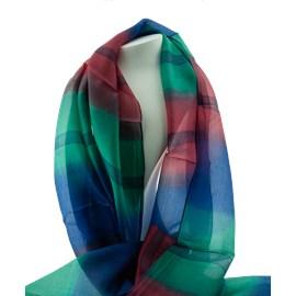 Echarpe en soie multicolore Bleu