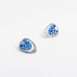 Boucles d'oreilles émail bleu Vanmij