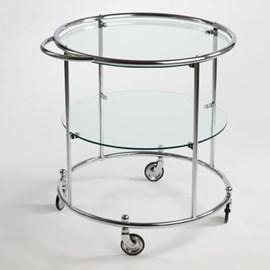 Chariot à thé avec 2 panneaux et roues en verre