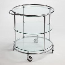 Chariot à thé avec 3 plaques et roues en verre