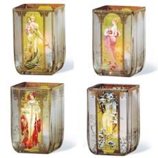Lanternes de verre Les Quatre Saisons Mucha