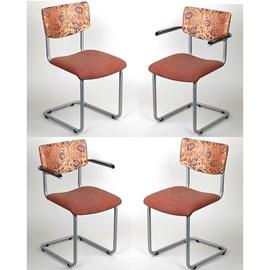 Lot de 4 chaises tubulaires RVS Lalique